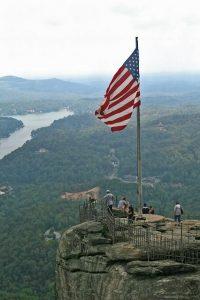 American Flag waving at Chimney Rock
